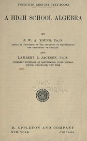 Cover of: A high school algebra | J. W. A. Young