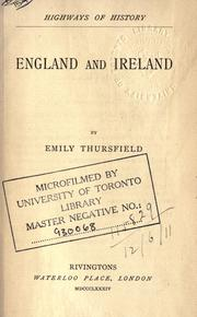 Cover of: England and Ireland | Emily Thursfield