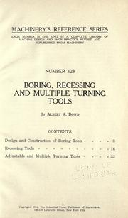 Cover of: Boring, recessing and multiple turning tools | Albert Atkins Dowd