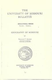 Cover of: Geography of Missouri | Frederick V. Emerson