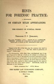 Cover of: Hints for forensic practice | Theodore F. C. Demarest