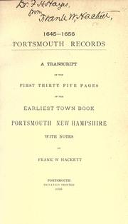 Cover of: 1645-1656. Portsmouth records by Portsmouth (N.H.)