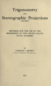 Cover of: Trigonometry and stereographic projections (revised) | Stimson J. Brown