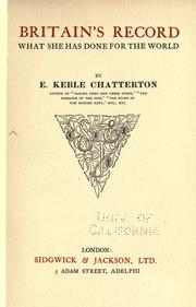 Cover of: Britain's record by E. Keble Chatterton