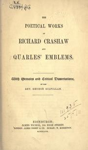 Cover of: The poetical works of Richard Crashaw and Quarles' Emblems by Crashaw, Richard
