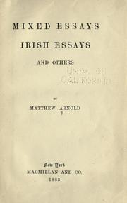 Cover of: Mixed essays by Matthew Arnold