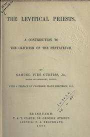 Cover of: The Levitical Priests | Samuel Ives Curtiss