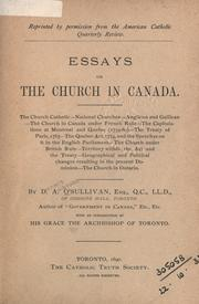 Cover of: Essays on the Church in Canada | D. A. O'Sullivan