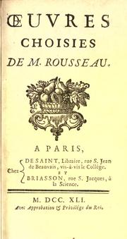 Cover of: Oeuvres choisies by Jean-Baptiste Rousseau