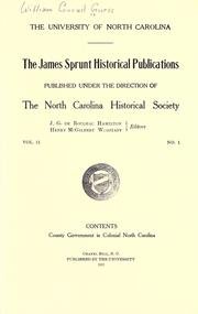 Cover of: County government in colonial North Carolina by William Conrad Guess