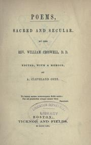 Cover of: Poems, sacred and secular | Croswell, William