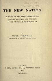 Cover of: The new nation | Percy Fritz Rowland