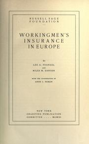 Cover of: Workingmen's insurance in Europe by Lee K. Frankel