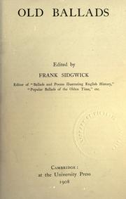 Cover of: Old ballads | Frank Sidgwick