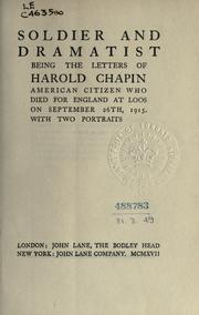 Cover of: Soldier and dramatist by Harold Chapin