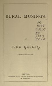 Cover of: Rural musings | Emsley, John.