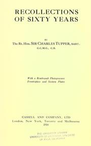 Cover of: Recollections of sixty years | Tupper, Charles Sir