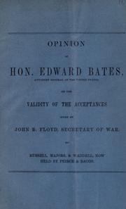 Cover of: Opinion of Hon. Edward Bates, Attorney General of the United States by United States. Attorney-General.
