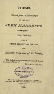 Cover of: Poems | Marriott, John