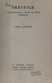 Cover of: Prestige | Lewis Leopold