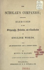 Cover of: The scholar's companion by Bailey, Rufus William