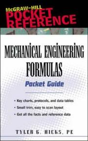 Cover of: Mechanical Engineering Formulas Pocket Guide | Tyler G. Hicks
