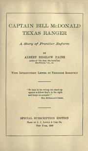 Cover of: Captain Bill McDonald, Texas ranger by Albert Bigelow Paine