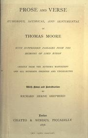 Cover of: Prose and verse, humorous, satirical, and sentimental | Thomas Moore