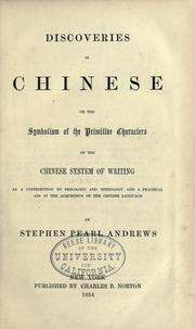 Cover of: Discoveries in Chinese by Stephen Pearl Andrews