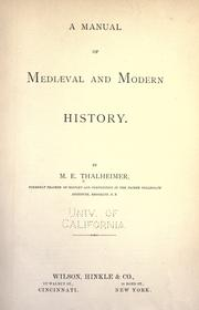 Cover of: A manual of mediæval and modern history by M. E. Thalheimer