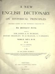 Cover of: A new English dictionary on historical principles (vol 9, pt 2) by James Augustus Henry Murray