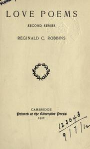 Cover of: Love poems | Robbins, Reginald Chauncey