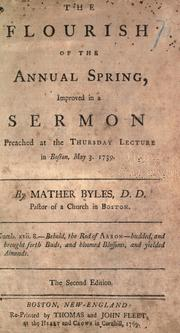Cover of: The flourish of the annual spring | Byles, Mather