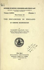 Cover of: The enclosures in England | Bradley, Harriett.