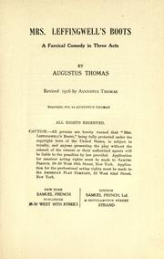 Cover of: Mrs. Leffingwell's boots by Augustus Thomas