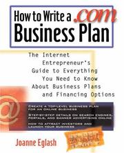 Cover of: How to Write A .com Business Plan | Joanne Eglash