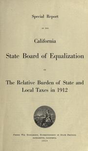 Cover of: Special report of the California State Board of Equalization | California. State Board of Equalization.