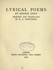 Cover of: Lyrical poems by Henrik Ibsen