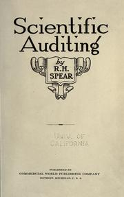 Cover of: Scientific auditing by Raymond Herbert Spear