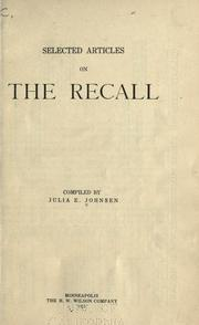 Cover of: Selected articles on the recall | Julia E. Johnsen