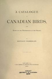 Cover of: A catalogue of Canadian birds | Montague Chamberlain