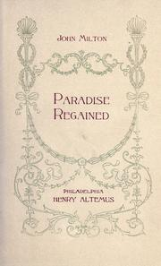 Cover of: Paradise Regained by John Milton