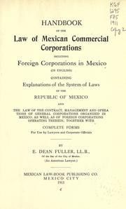 Cover of: Handbook of the law of Mexican commercial corporations | E. Dean Fuller