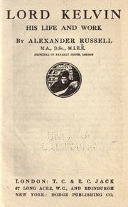 Cover of: Lord Kelvin | Russell, Alexander