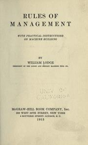 Cover of: Rules of management by William Lodge