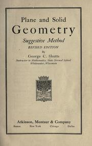 Cover of: Plane and solid geometry by George C. Shutts