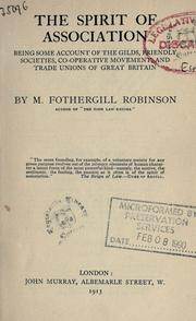 Cover of: The spirit of association | M. Fothergill Robinson