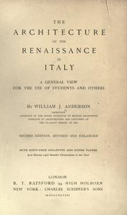Cover of: The architecture of the renaissance in Italy | Anderson, William J.