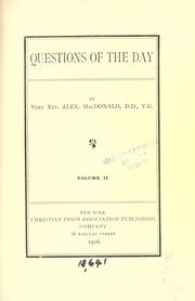 Cover of: Questions of the day | MacDonald, Alexander