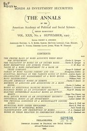 Cover of: Bonds as investment securities by American Academy of Political and Social Science.